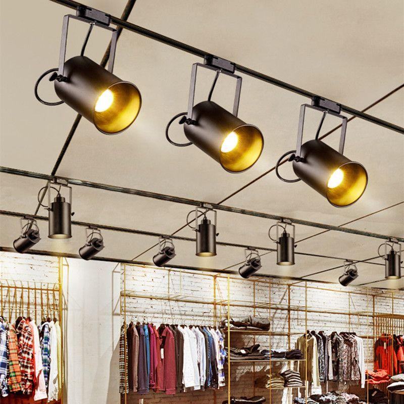 Plafonnier Vintage LED fer noir plafonnier vetement industriel lampe sur rail rétro rail Spot luminaire cuisine luminaire