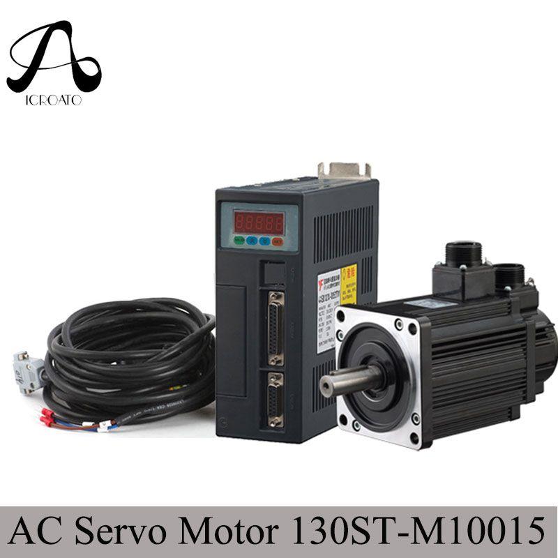 Free Shipping 1.5KW ac servo drive and motor cnc servo kit 130ST-M10015 10N.M 1500rpm + servo motor driver