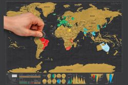 1 x Retro Travel Deluxe Scratch World Map Novelty Gift Geography Teaching School Office Globe Map Vintage Poster 42*29.7cm kk