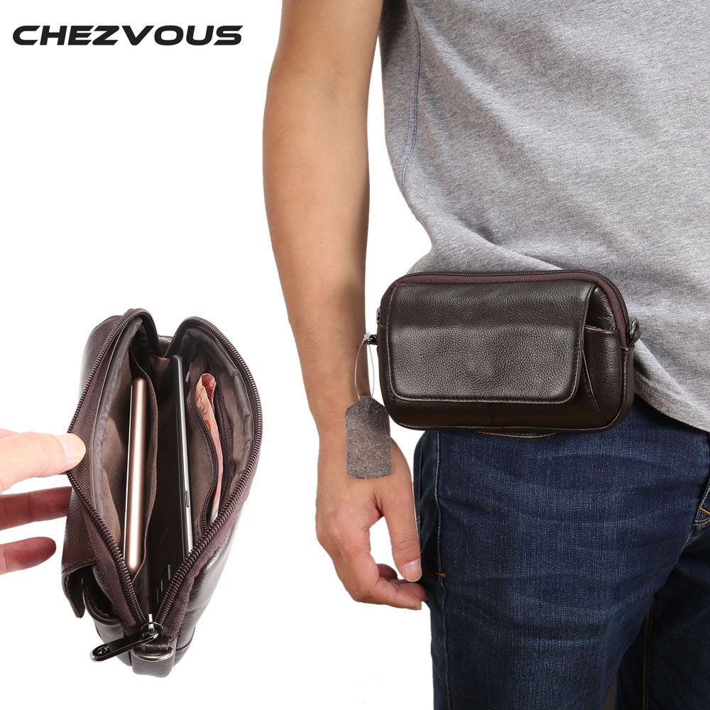 100% Genuine Leather Waist Bag for iphone/Samsung Smart Phone Shoulder Bag Belt Pouch for Below 6.5inch Mobile Phones Case