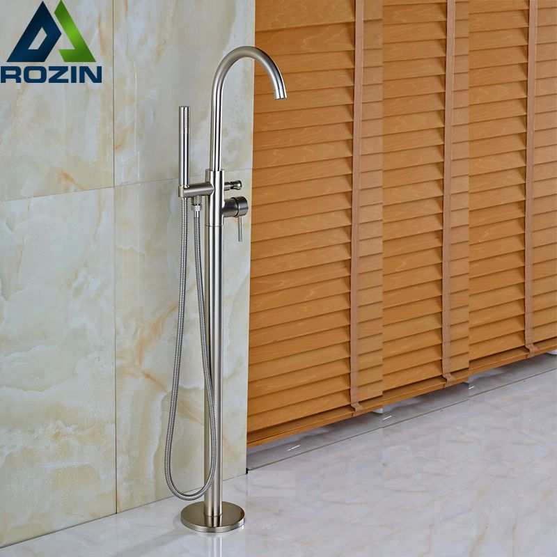 Brushed Nickel Floor Mounted with Hand Shower Bathroom Tub Faucet Single Handle Bathtub Mixers Swivel Spout