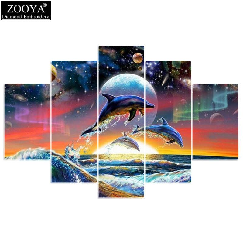 ZOOYA 5d diy diamond embroidery Dolphin jumping 5PCS diamond painting Cross Stitch full drill Rhinestone Multi-picture