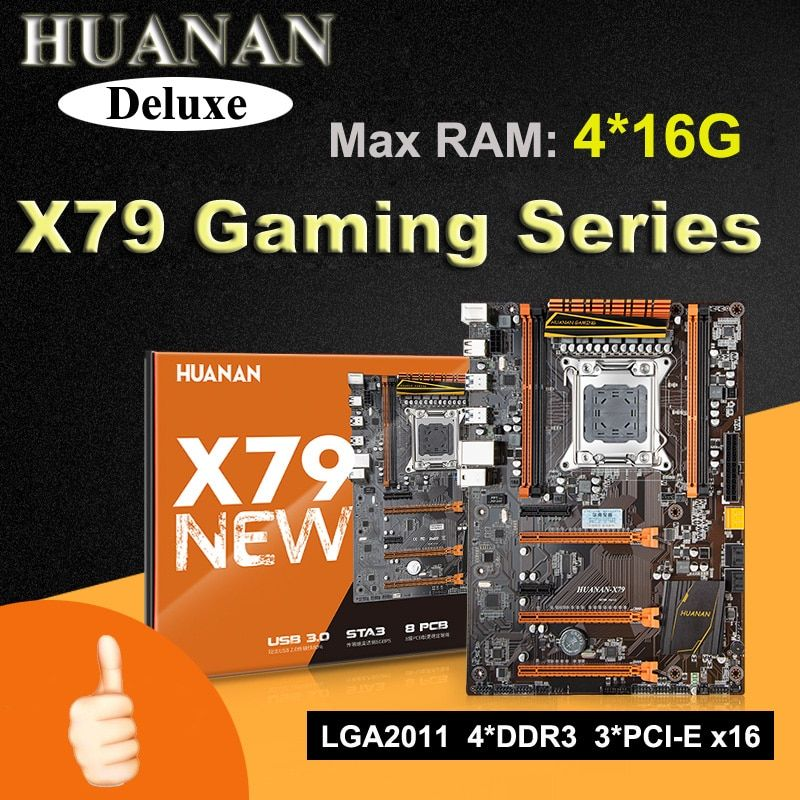 HUANAN Deluxe version X79 gaming motherboard 3*PCI-E x16 slots 2*SATA3.0 RAM 4 channels max 4*16G memory support crossfire