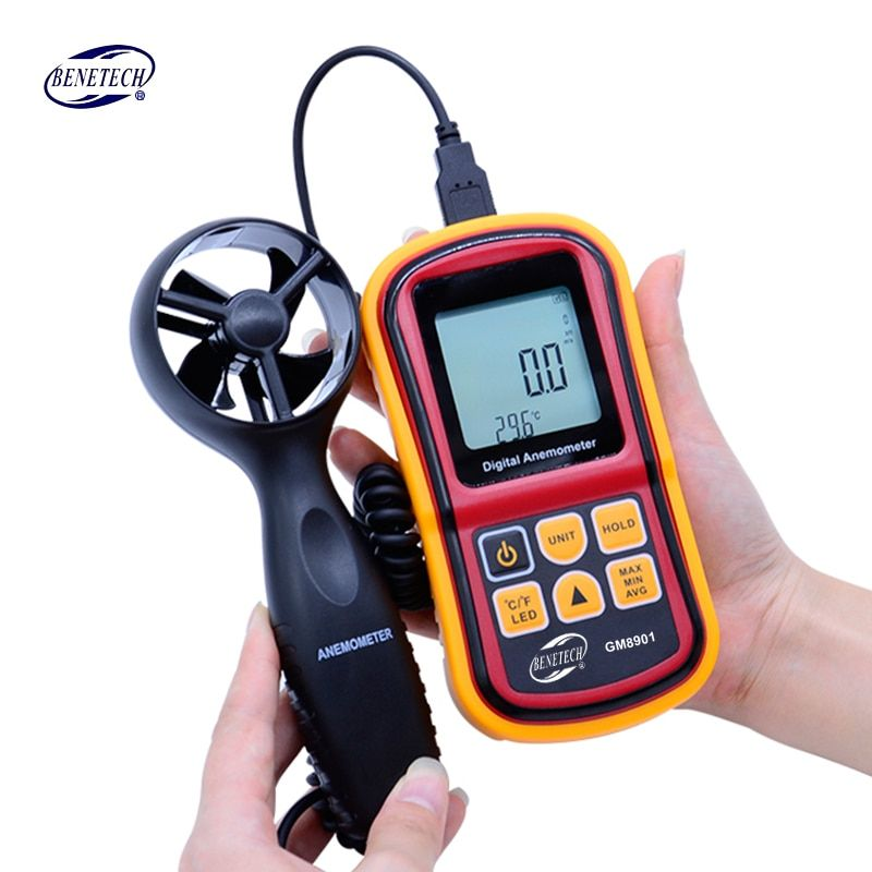BENETECH GM8901 Anemometer 45m/s (88MPH) LCD Digital Thermometer Electronic Hand-held Wind Speed Gauge Meter