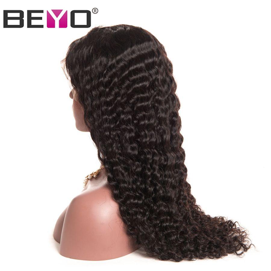 Beyo Cheveux Avant de Lacet Perruques de Cheveux Humains Pour Les Femmes Pré Pincées malaisie Vague Profonde Perruque Avec Des Cheveux de Bébé 8-26 Pouce Non-Remy Cheveux