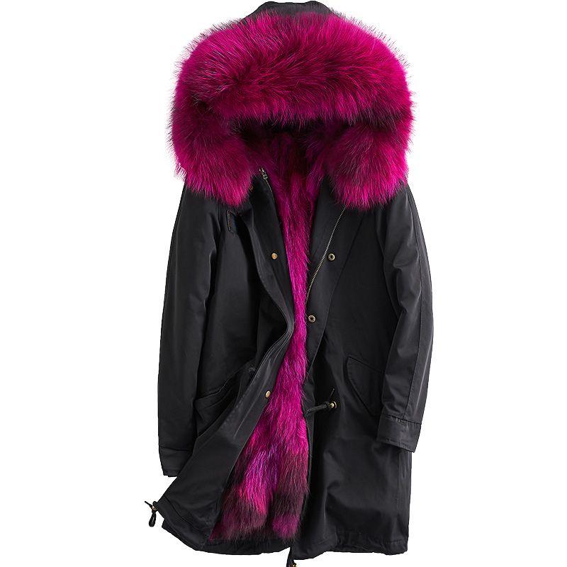 Real Fur Coat Parkas Winter Jacket Women Clothes 2018 Detachable Raccoon Dog Fur Liner Korean Elegant Hooded Long Coat ZT708
