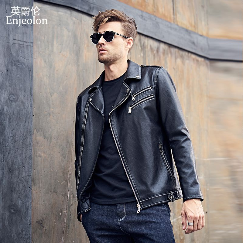 Enjeolon 2017 brand PU Motorcycle Leather Jacket Men regular fabric fashion Clothing Casual black Coats free ship P310
