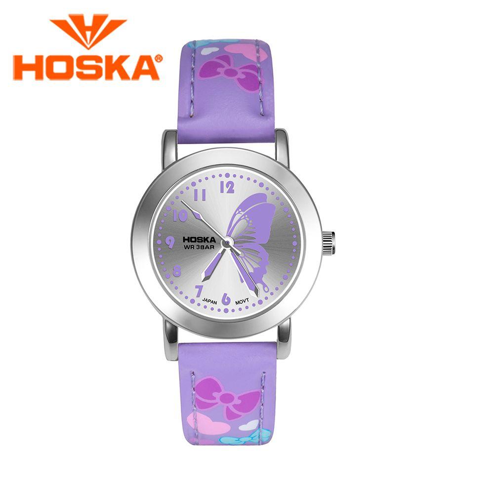 Бренд hoska детские часы Дети Кварцевые часы студенческие девушки Кварц-часы Симпатичные разноцветные бабочки водонепроницаемый 50 м