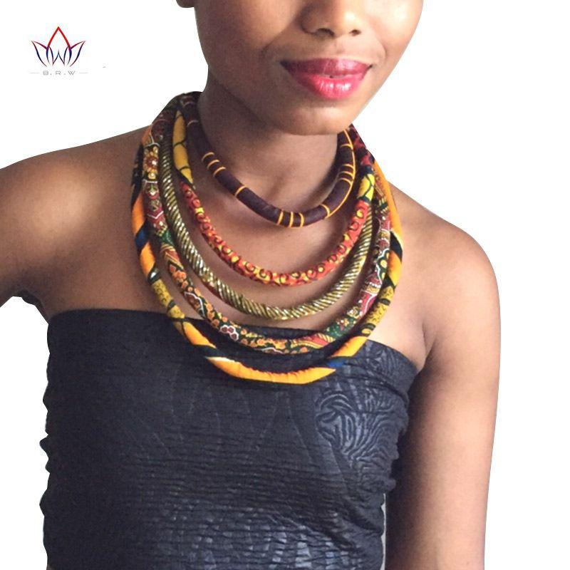 2019 africain cire imprimé collier coloré Ankara noeud collier africain imprimé tissu bijoux pour les femmes WYA086