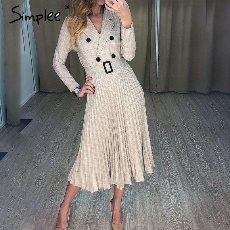 Simplee Vintage plissé ceinture robe à carreaux femmes élégant bureau dames blazer robes à manches longues femme automne midi robe de fête