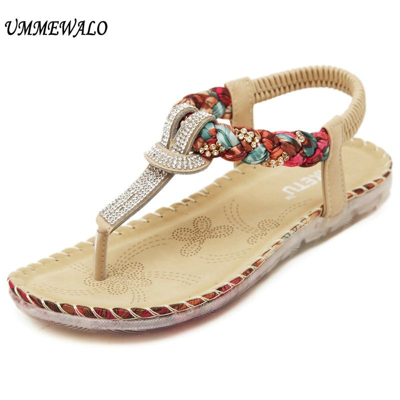 UMMEWALO Summer Sandals Women T-strap Flip Flops Thong Sandals Designer Elastic <font><b>Band</b></font> Ladies Gladiator Sandal Shoes Zapatos Mujer