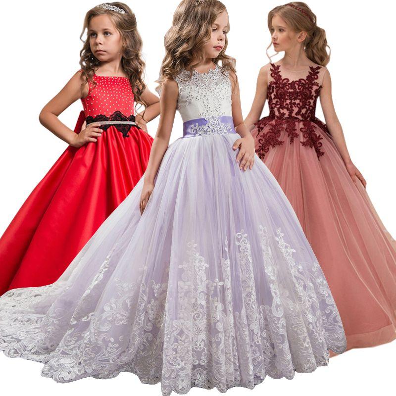 Fleur Fille De Soirée De Mariage robe de fête vêtement fille Pour Les Filles Princesse Robe Adolescente Robe 7 8 9 10 11 12 13 14 année Robes
