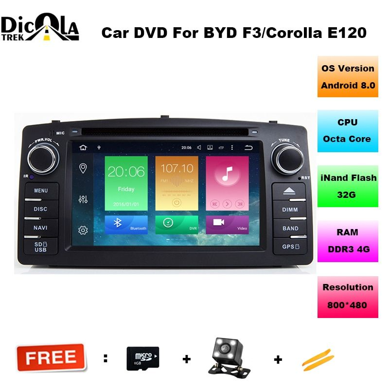 2 din Octa Core android 8.0 car dvd gps for toyota corolla e120 byd f3 2003-2006 car radio with steering wheel wifi obd function