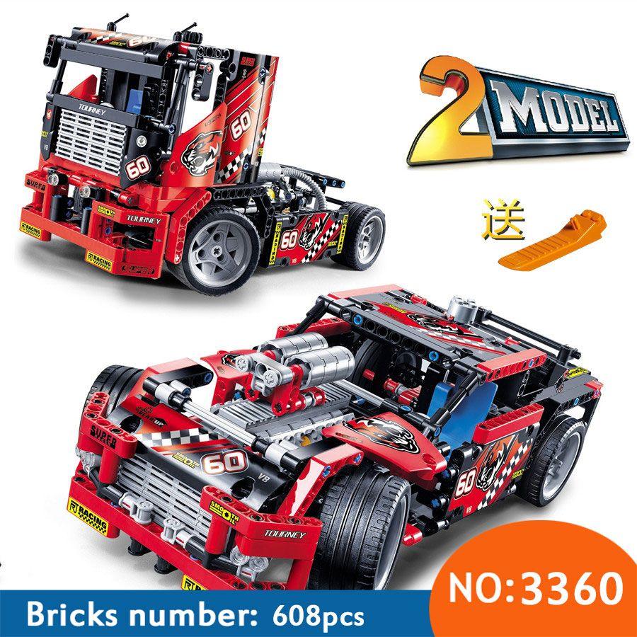 Nouveau 608 pièces course camion voiture 2 en 1 Transformable modèle bloc de construction ensembles 3360 bricolage jouets livraison gratuite