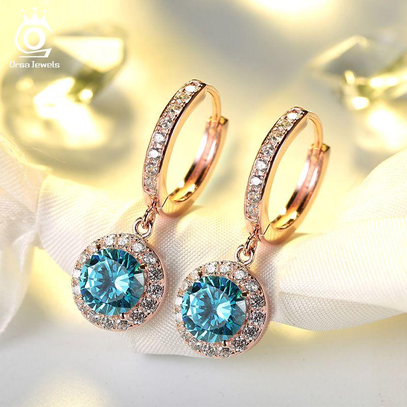 ORSA bijoux date de luxe couleur argent & or Rose couleur boucles d'oreilles avec 1.8 Carat océan bleu cubique zircone boucle d'oreille pour les femmes OE160