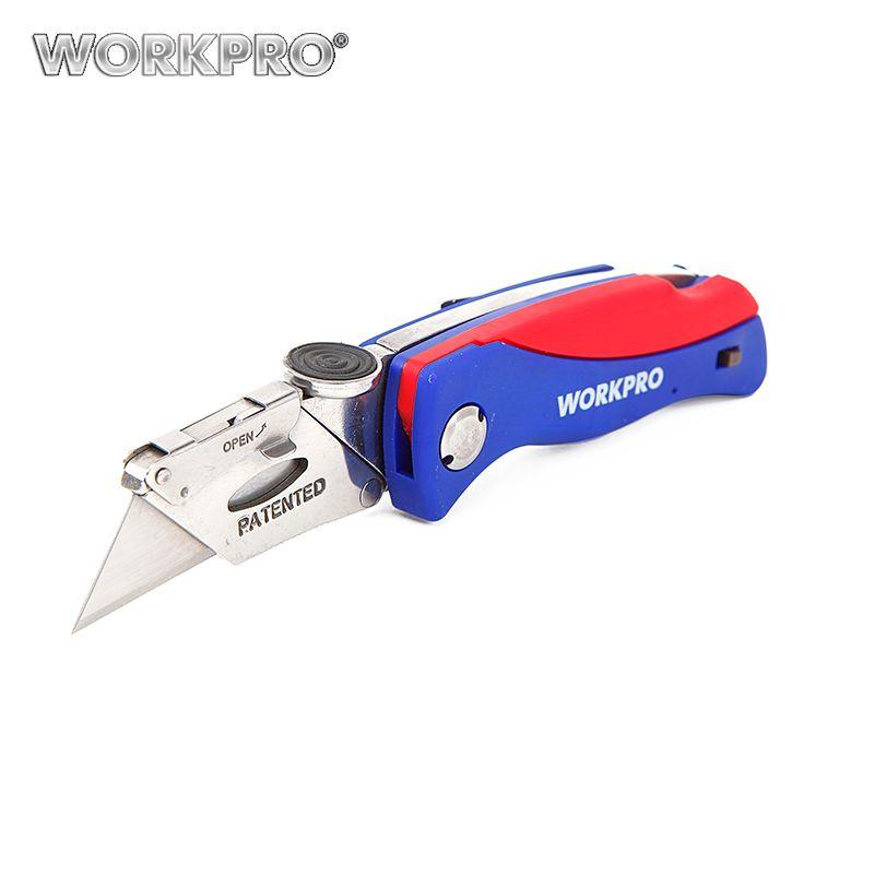 WORKPRO Pliant Couteau Coupe-Tube Électricien Câble Cutter Sécurité Couteau de Sécurité Outil Poignée En Plastique Couteau avec 5 PC lames