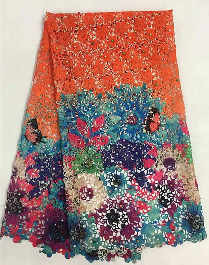 Hot sale colorful flower printing water soluble lace fabric with beads for wedding fashion  multi color guipure/cord lace r