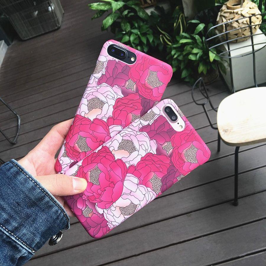 Nouvelle Lumineux Mat Rose Fleur Téléphone Cas pour Iphone 6 6 s Dur Couvercle en plastique Pour iPhone 7 Plus Dur Coque Couverture Arrière Mince Shell