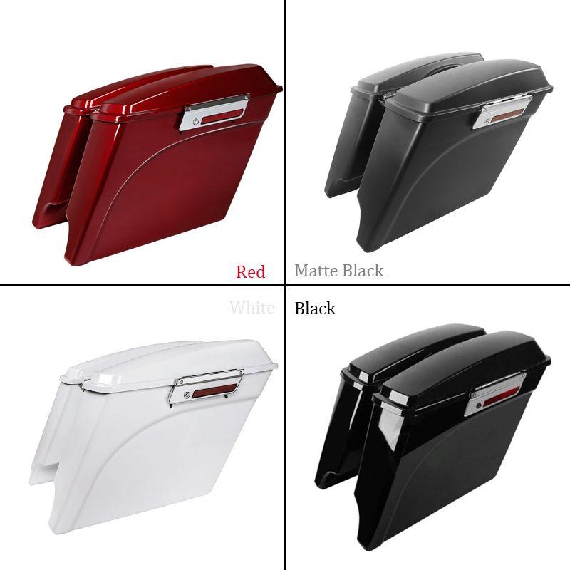 Motorcycle ABS Hard Saddlebags White Red Black 5