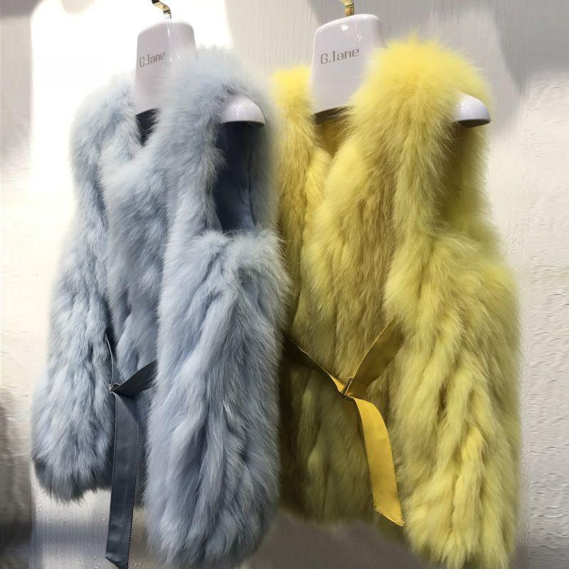 ZDFURS*2018 hot new natural fox fur vest real fox fur gilet winter waistcoat real fur cultivation European style station