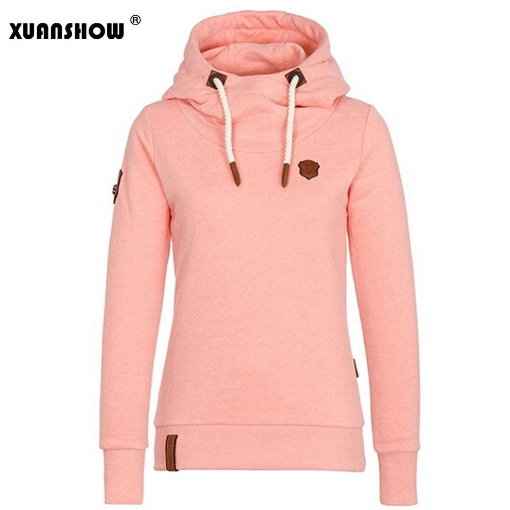XUANSHOW 2018 Womens Fashion Fleeces Hoodies Ladies Sweatshirts Casual Tracksuit Cotton Thick Solid Long Sleeve Moletom Feminino