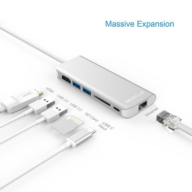 Amkle 6 in 1 USB 3.0 HUB USB 3.1 Typ C zu HDMI/USB 3.0/RJ45/SD/TF/ typ C Adapter Konverter Für Macbook Pro Google Chromebook