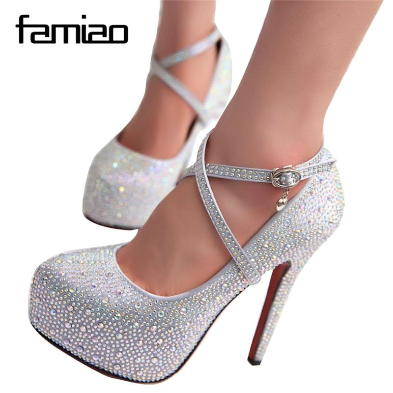 2018 women high heels prom wedding shoes lady crystal platforms silver Glitter rhinestone bridal shoes thin heel party pump