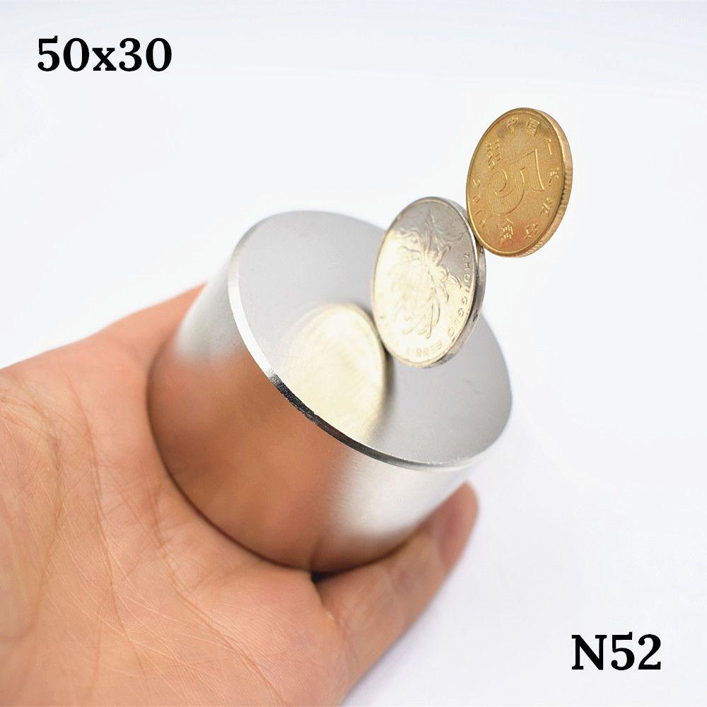N52 aimant le plus fort 50x30mm aimant néodyme rond puissant magnétique terre Rare permanent super puissant mag permanent
