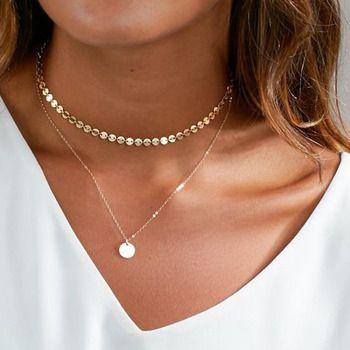 2017 Été Simple Pièce D'or Layered Collier Ras Du Cou Pour Femmes Multi Couche Tour de Cou Colliers collier collier ras du cou femme