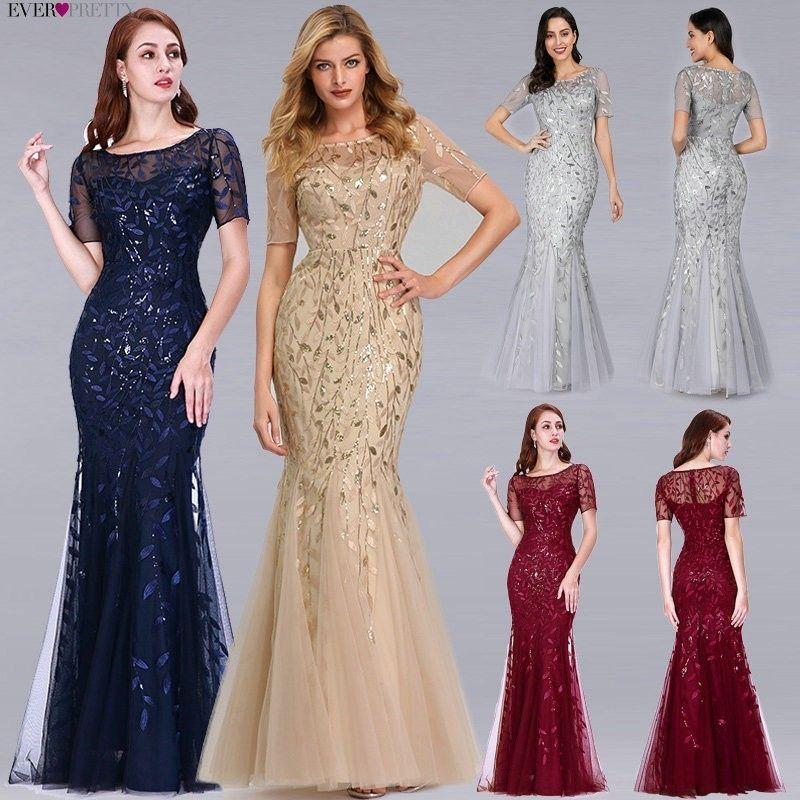 Robes de soirée formelles 2019 Ever Pretty nouvelle sirène col rond manches courtes dentelle Appliques Tulle longues robes de soirée Robe Soiree Sexy
