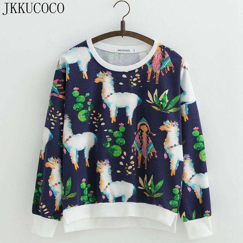 Jkkucoco Для женщин толстовка свитер с круглым вырезом и длинными рукавами с цветочным принтом тонкие свободные Повседневное кофты Для женщин ...