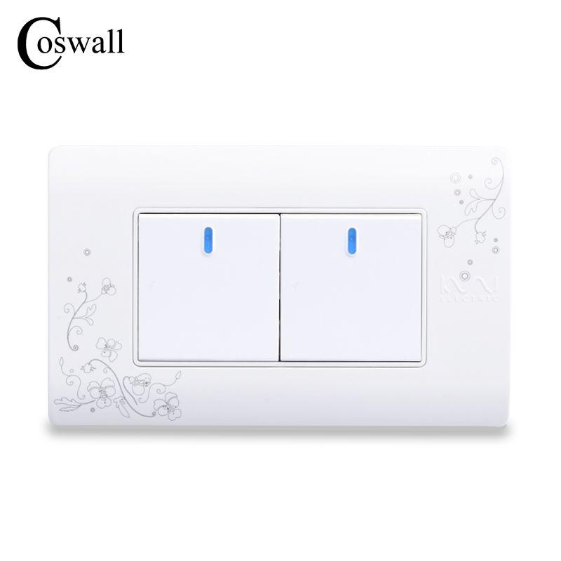 COSWALL Simple Style 2 Gang 2 Way Bouton-Poussoir Interrupteur Mural Interrupteur Blanc Interrupteur de Lumière de Couleur 114*70mm AC 110 ~ 250 V C30-118-102