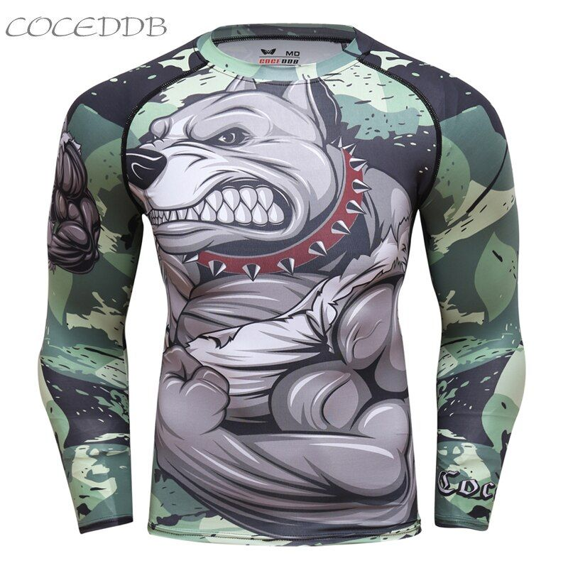 Mens compresión Camisas bodybuilding piel tight manga larga Jerséis trajes MMA CrossFit ejercicio entrenamiento fitness ropa deportiva