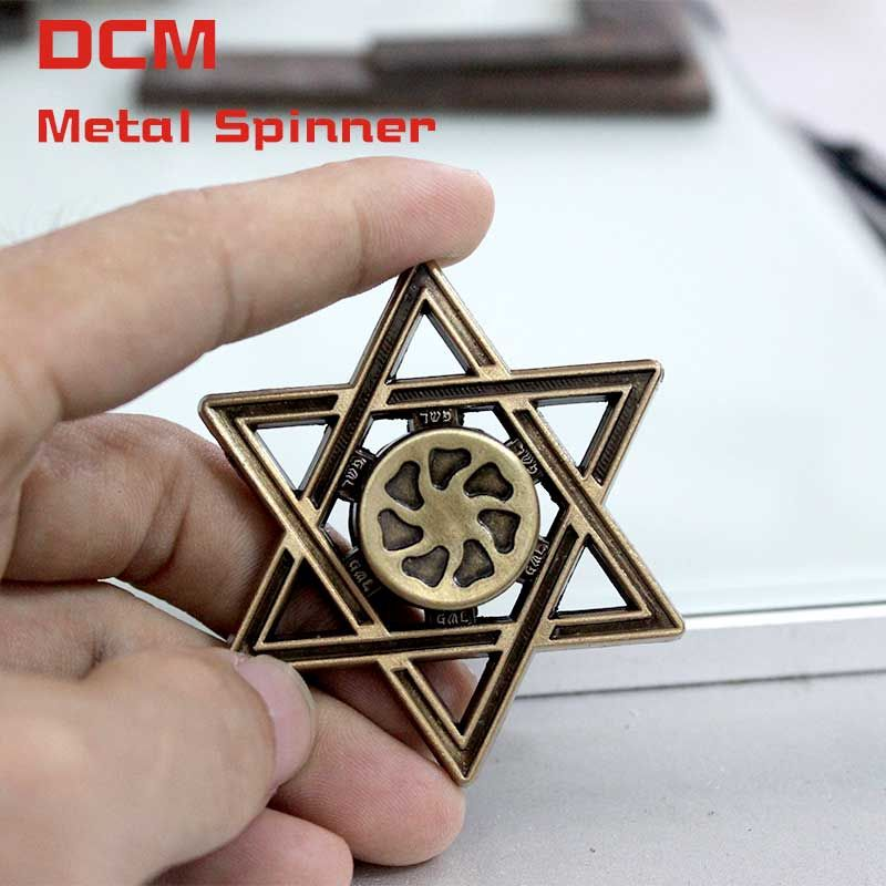 Fidget Spinner Brass Color Mogen David Style Anti-stress Finger spiner Gyro EDC gifts For Adults Autism and ADHD Rotation toys