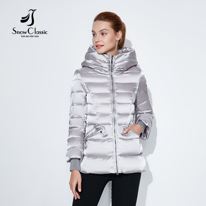 SnowClassic 2018 winter short jacket Fashionable women thick Coat Warm Jackets Hood Adjustable Waist solid slim Cotton Padded