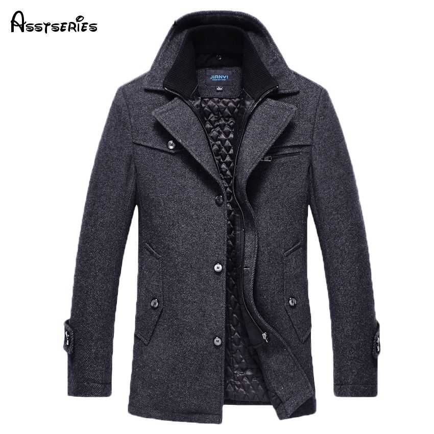Free Shipping New 2017 Autumn/Winter Men's Fashion Brand Men Long Section Brand Men Plus Cotton Coat Thick Woolen Coat 158