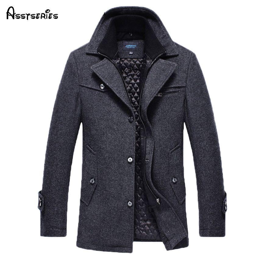 Free Shipping New 2018 Autumn/Winter Men's Fashion Brand Men Long Section Brand Men Plus Cotton Coat Thick Woolen Coat 158