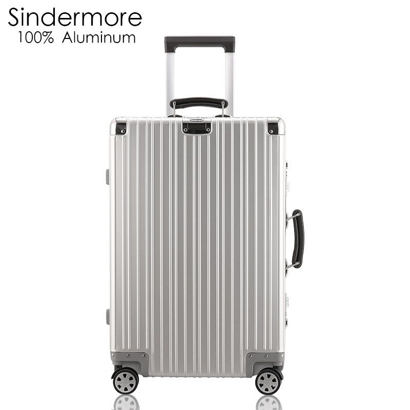 Sindermore 100% All Aluminum Luggage Hardside Rolling Trolley Luggage travel Suitcase 20 Carry on Luggage 24 26 Checked Luggage