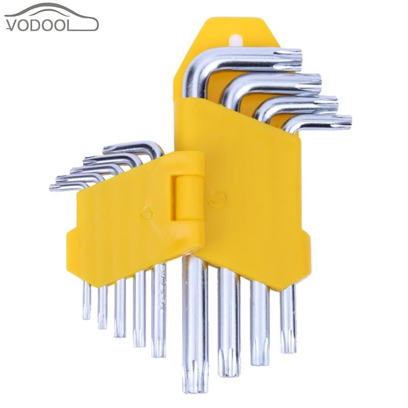 9Pcs/set Steel Hand Tool Triple Cross L Shape 90 Degree Right Angle Hexagon Wrench Spanner Long Arm Torx Star Repair Tools Kit