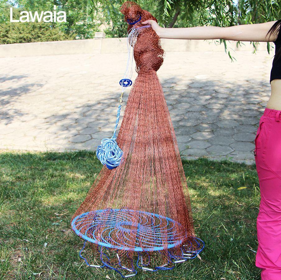 Lawaia Alten Salz Cast Net Werfen Net reifen Linie Dreh Angeln Netzwerk Durchmesser 3 m-5,4 m Hand Angeln net Werkzeug Mit Blau Ring