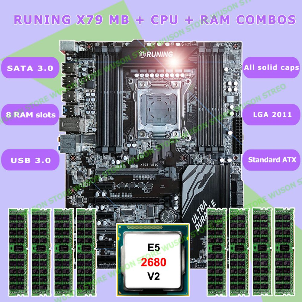 New!!Runing Super ATX X79 LGA2011 motherboard 8 DDR3 DIMM slots max 8*16G memory Xeon E5 2680 V2 CPU 32G(8*4G)1333MHz DDR3 RECC