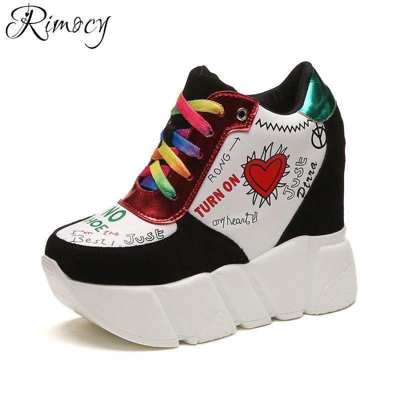 Rimocy Мода красочные граффити на шнуровке Женская увеличивающая рост повседневная женская обувь на танкетке со скрытым каблуком на платформ...
