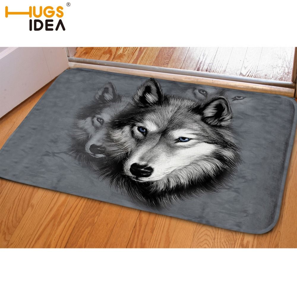 HUGSIDEA Funny Front Entrance Door Carpet 3D Animals Wolf Dog Husky Floor Carpets for Living Room Bedroom Non-Slip Kitchen Mats