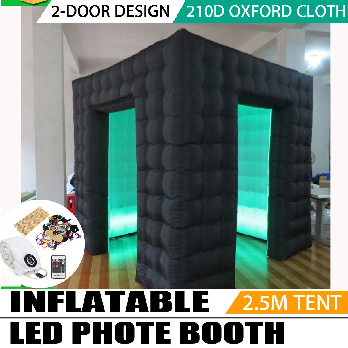2.5*2.5*2.5M Portable Inflatable Photo Cabin Inflatable Cube Tent Led Inflatable Photo Booth for Wedding Party