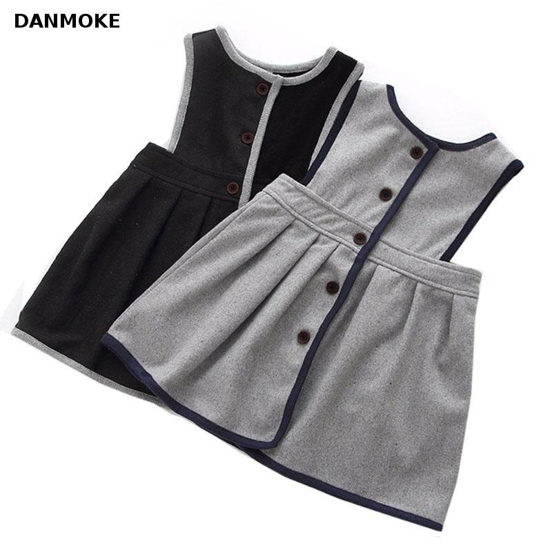 Retail Girl's Winter Wool Dress Grey Black Button Tank Dress For Girls Elegant Fall Garments Girls Dress Christmas Gift