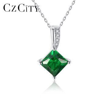 CZCITY Charme Cadeia Colar Verde Esmeralda Cubic Zirconia Jóias Popular 925 Sterling Silver Pendant Necklace para Mulheres Presente