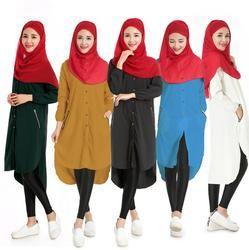 Baru kasual kemeja panjang muslim wanita abaya ramadan islamic tops lady shirts pakaian coats daewoo nexia indonesia pakaian a440