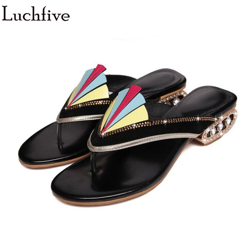 Rainbow gladiator Sandals Women colorful crystal Studded Outdoor Beach Slippers flipflops Flats Slides 2018 lazy summer shoes
