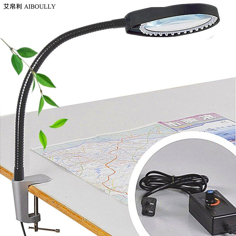 AIBOULLY PD-032A Caliper Magnifier Adjustable Brightness LED Light to Enlarge 10 Times the Electronic Maintenance Nail Lamp Tool