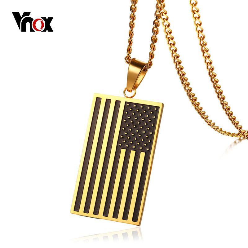 Vnox Americana EE.UU. Bandera Etiqueta de Perro Collar Colgante para Hombre de Nombre Grabado Envío 24 pulgadas Cadena